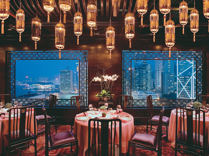 The Man Wah restaurant at the Mandarin Oriental is reputed to be Hong Kong's most beautiful dining space.