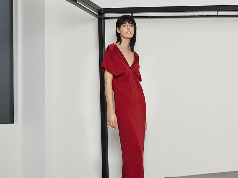 This red dress is a standout piece from Hussein Chalayan's Pre-Fall 2017-18 collection.