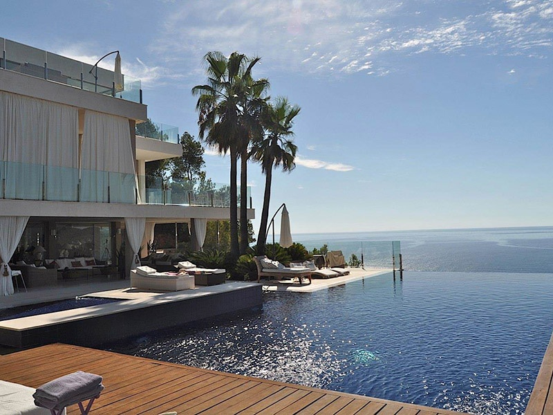 This home in Cala San Vicente, being marketed by Estela Exclusive Homes, has a fully equipped professional kitchen, various lounges and seating areas, and a caretaker's apartment. Photograph: Estela Exclusive Homes