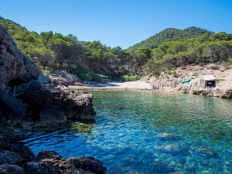 Set in a small cove, Cala Xuclar is north of the picturesque village of Sant Joan. Photograph: White Ibiza