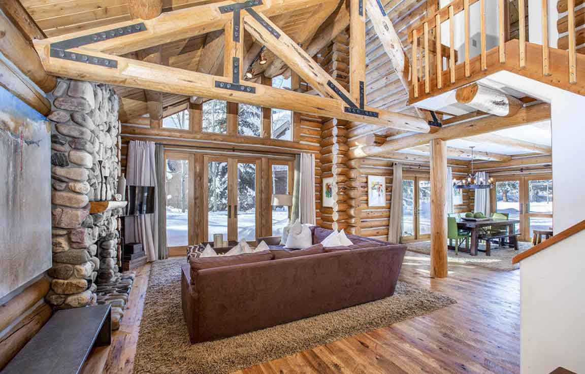 In a prized winter playground, this riverfront home is steps from the chairlift to Bald Mountain Ski Area and 10 minutes' drive from the world-class Sun Valley Resort.
