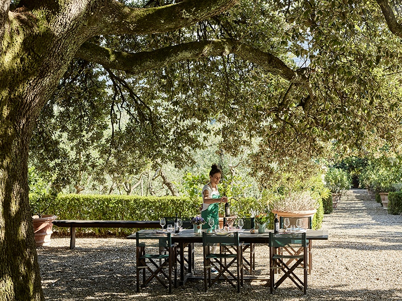 Dotted around Il Palagio's grounds are spots to relax and reflect before an alfresco lunch at a table set by the very person who prepares it. Photograph: Fabrizio Cicconi