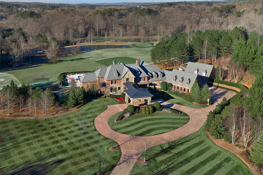 John Smoltz built this expansive estate on 19 acres in Milton, Georgia, and outfitted its grounds with an array of athletic facilities for a variety of sports.