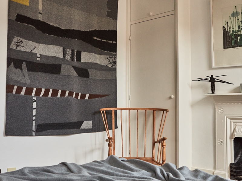 Inigo Scout's blankets are often used as wall hangings, such as Tom Robinson's design, <i>Shore</i>.