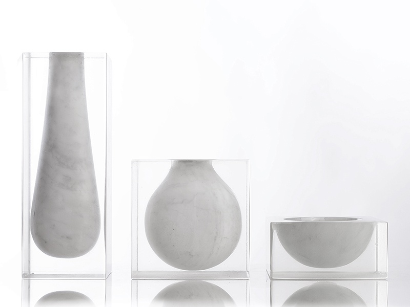 Prior to designing his vases, Carrara native Moreno Ratti created marble benches, bookcases, and room dividers.