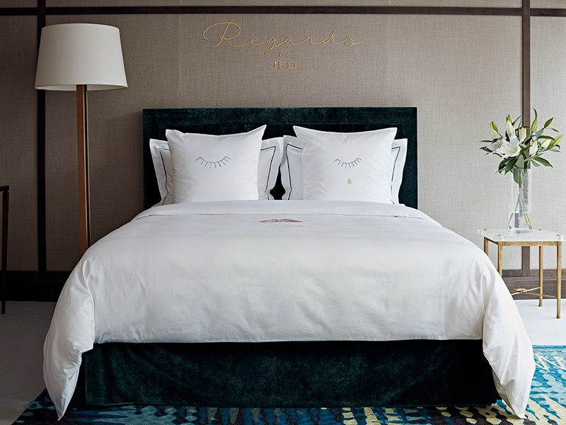 """This hand-embroidered bed linen by Jérôme Faillant-Dumas was on display at the Invisible Collection's London showroom as part of the series """"An Interior Designer's Bedroom."""""""
