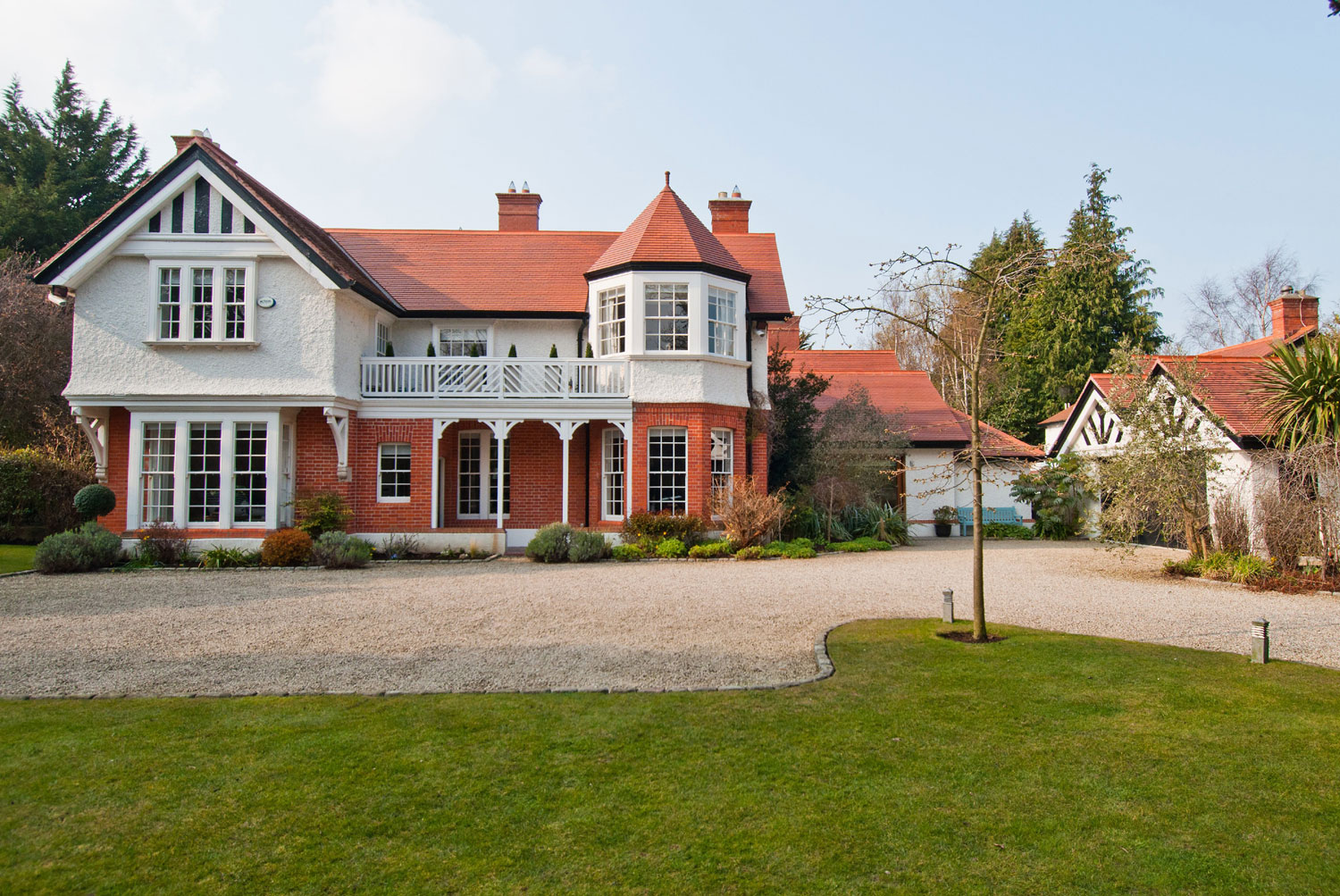 In Dublin, Ireland, Kenure is one of the finest homes in the affluent suburb of Foxrock. The historic property stands on an acre of secluded and imaginatively laid out gardens.