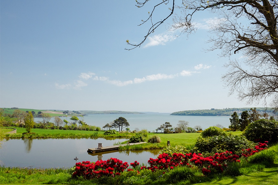 This Georgian home's own quiet lake, gardens, and views of Courtmacsherry Bay and the rolling hills of County Cork bring to mind the works of Impressionist masters.