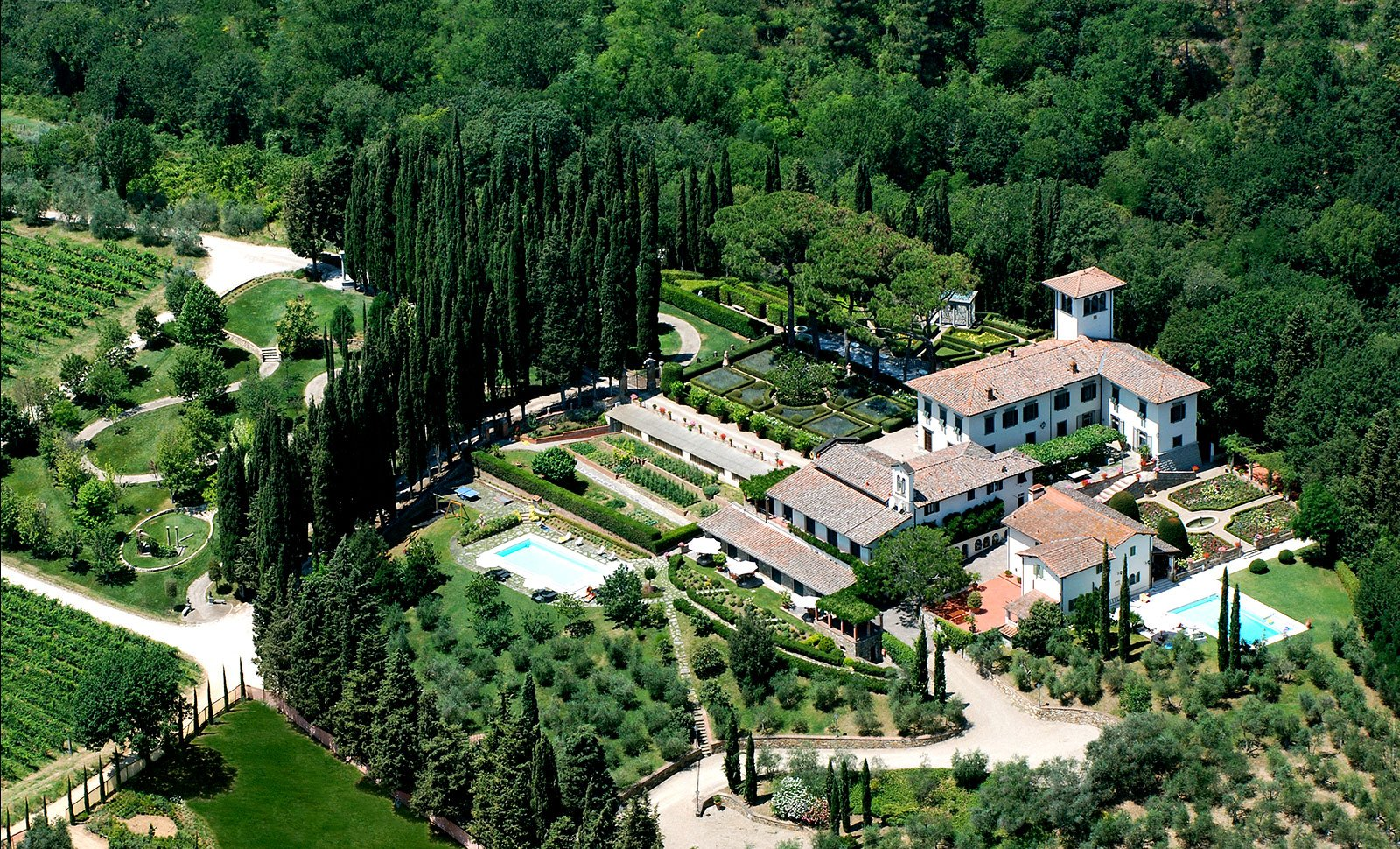 This 13th-century villa in the heart of Tuscan countryside is a haven for children: the property boasts a playground, three swimming pools, table tennis area, and acres of recreation land.