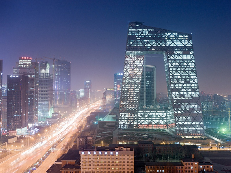 The headquarters of China Central Television (CCTV) in Beijing is a 44-story skyscraper, and because of its unique angles it takes on a different appearance depending on where in the city it is viewed from. Photograph  and banner image: Iwan Baan.