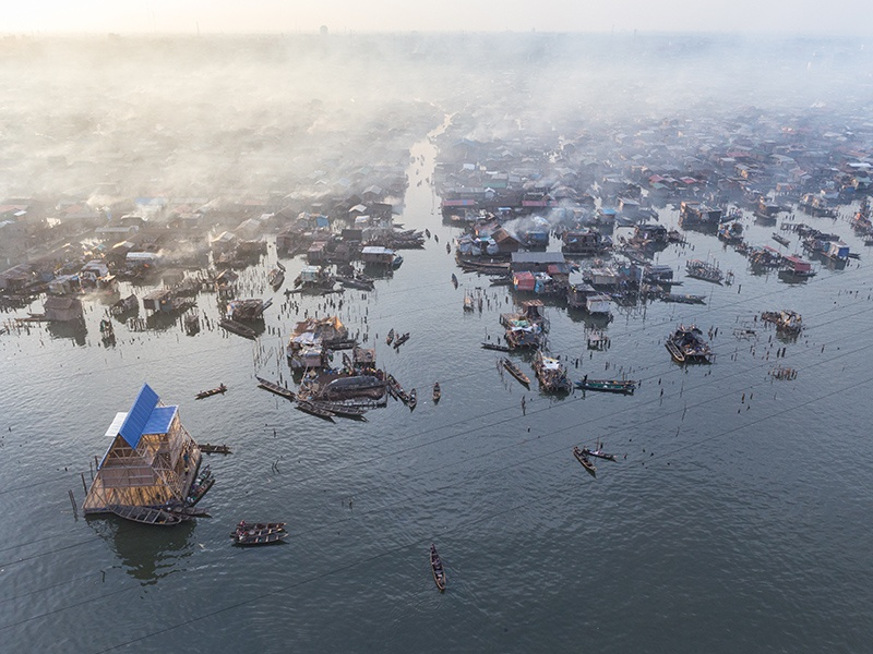 Makoko Floating School in Lagos, Nigeria was a prototype floating structure, built for the water community of Makoko. Photograph: Iwan Baan.
