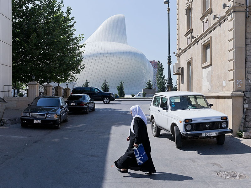 Iwan Baan is known for incorporating people into his shots, showing how they interact with the buildings and the environments they sit within, such as here at Zaha Hadid's Heydar Aliyev Center in Baku, Azerbaijan. Photograph: Iwan Baan.