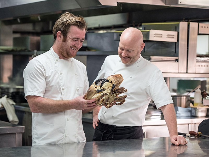 The Goring's Michelin-starred chef, Shay Cooper (right), collaborated with chef Jack Stein (left) to create a menu filled with fresh seafood.