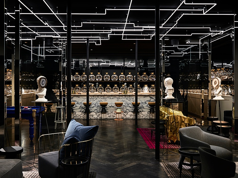 The Flaggerdoot cocktail lounge in Melbourne's Jackalope hotel marries classic herringbone floors and open fires with edgy installations—like Andrew Hazewinkel's faceless agate busts.
