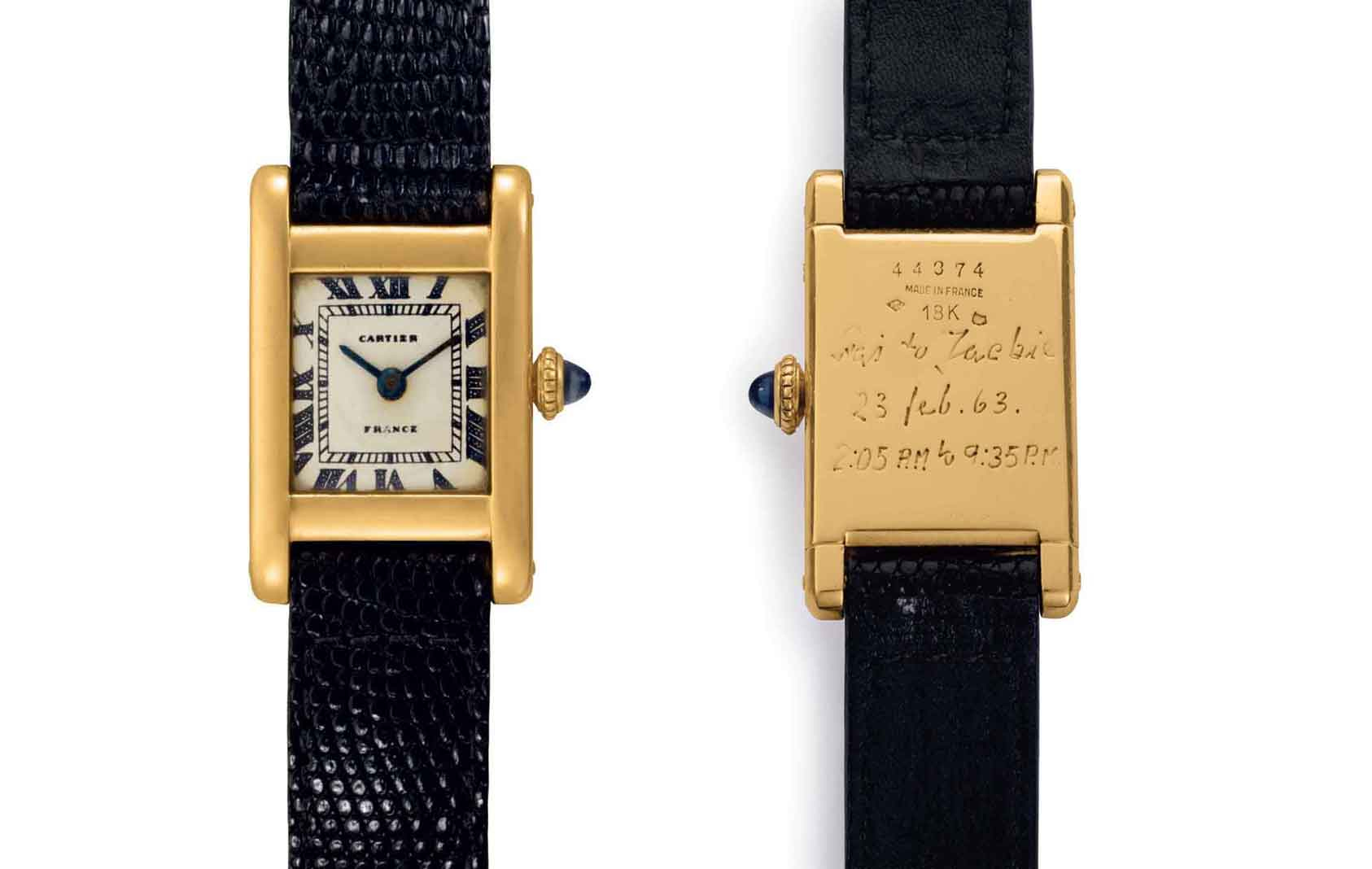 "A fine and historically important 18k gold square-shaped wristwatch, belonging to Jacqueline Kennedy Onassis. Signed Cartier, Tank Model, Movement No. 2'117'860, Case No. 44374, Manufactured in 1962. A gift from her brother-in-law Prince Stanislaw ""Stas"" Radziwill, it is engraved with the inscription ""Stas to Jackie, 23 Feb. 1963. 2.05am to 9.35am.""       Estimate: $60,000-120,000"