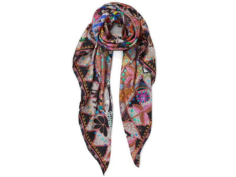 Jane Carr silk twill scarves: Souk Square, in Antique; and banner image, Bandanas Foulard, in colorway Indigo.