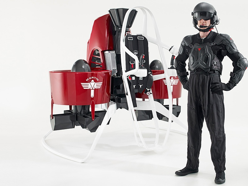 The Personal Martin Jetpack – currently in the prototype stage – would allow its wearer to take off and fly for up to 30 minutes, covering a distance of 30km (almost 19 miles).