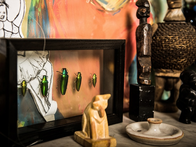 """At Jimmy Nelson's family home in the Netherlands, """"there are lots of mementos from around the world, hanging, sitting, gathering... it's eclectic, anarchic."""" Photograph: Hans Verleur"""