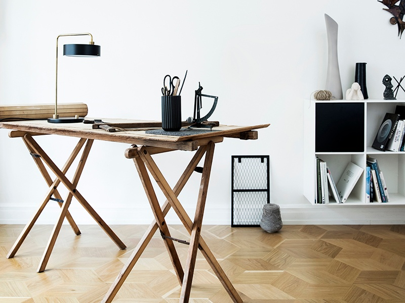 The HexParket design from Junckers uses solid oak for a geometric version of the classic herringbone style.