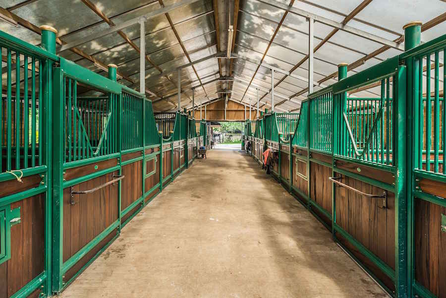 Historic June Farm's equestrian center in Surrey, England, includes an American style barn with 18 boxes, a solarium, tack room with kitchen, and a sand school for training.
