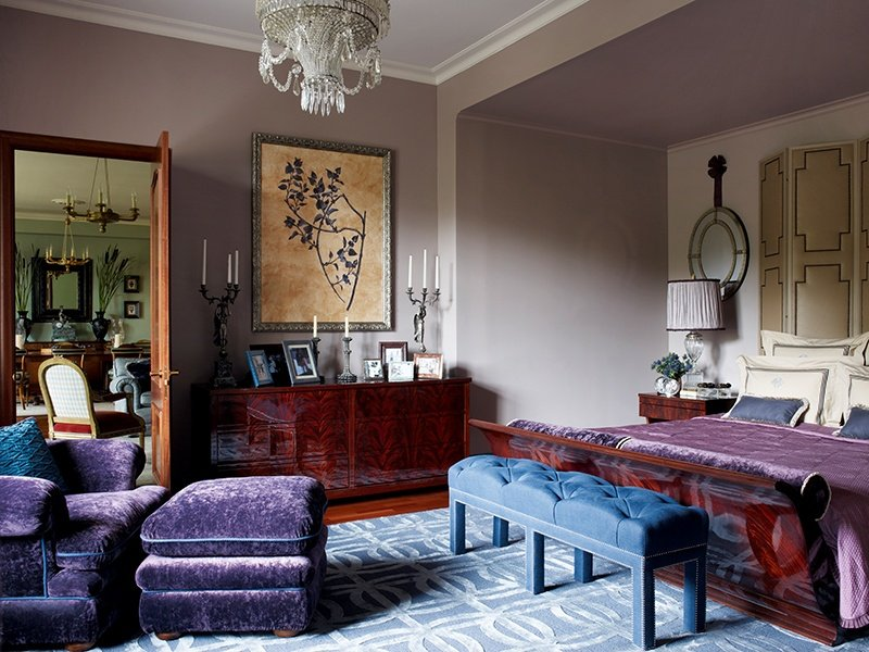 Color, pattern, and texture were used to imbue this city pied-à-terre with atmosphere and elegance. Photograph: Kirill Istomin Interior Design