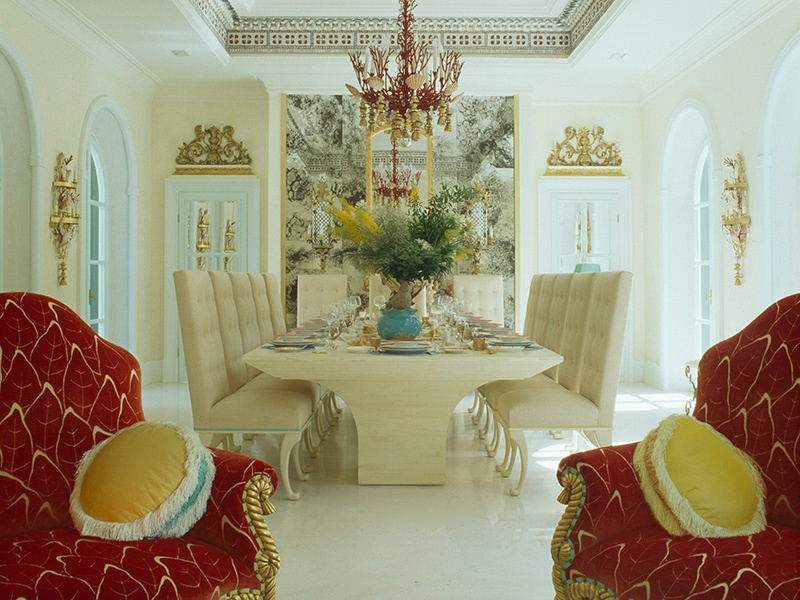 Several small rooms in this neo-Palladian villa in Portofino, Italy, were combined to create a grand winter dining and living area. Photograph: Kirill Istomin Interior Design