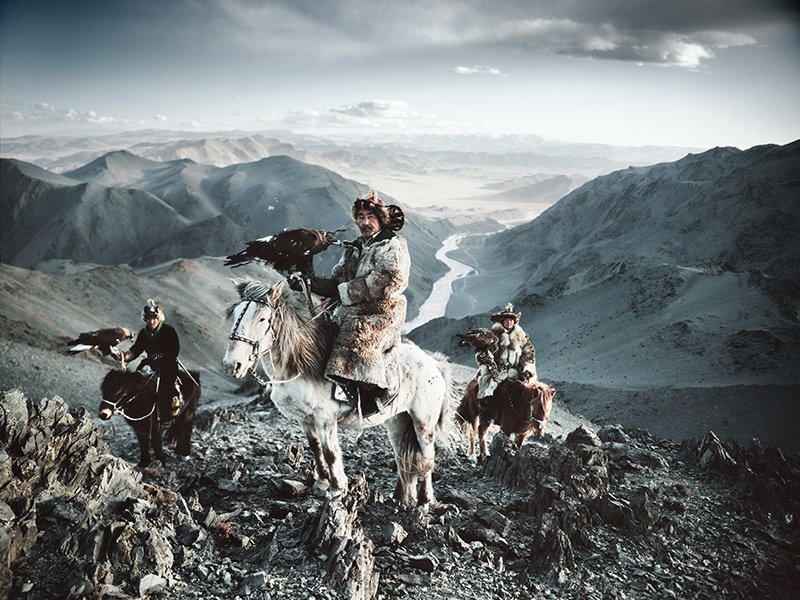 Jimmy Nelson captured the Kazakhs of Altantsögts, in the Bayan-Ölgii province of western Mongolia, hunting with eagles. A print of this photograph sold at Christie's, London, in May 2016 for £11,250 /US$16,425. Photograph: © Jimmy Nelson Pictures BV