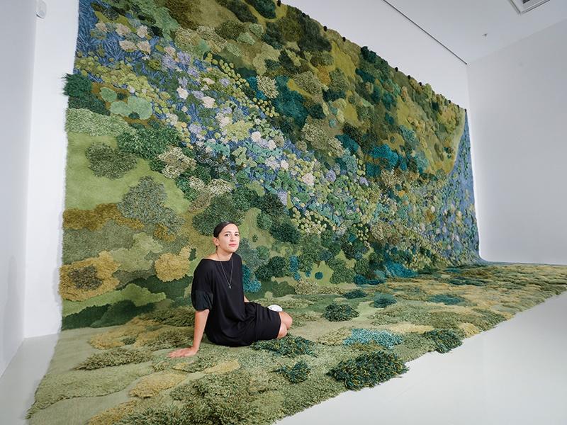 Alexandra Kehayoglou with her work <i>No Longer Creek</i> (2016) at the NGV Triennial artist announcement. Photograph: Wayne Taylor