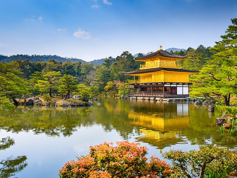 Tranquil Kinkaku-ji—the Golden Pavilion—is one of Kyoto's most beloved temples, with its peaceful gardens offering respite from the modern pace of life. It was built in the 14th century for a shogun, and was turned into a Zen temple after his death. Photograph: Alamy. Banner image: Getty Images