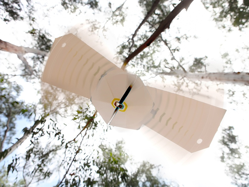 The Aid-Drop cartons are self-rotating units containing first aid supplies destined for disaster zones. Photograph: Sasha Flit