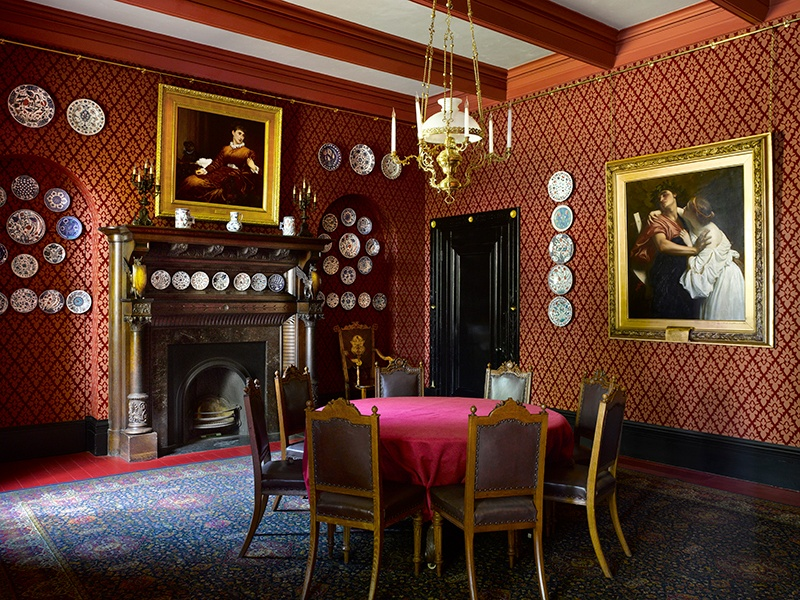 "The dining room of the Leighton House Museum was among the spaces renovated between 2008 and 2010 to reinstate the interiors as Leighton knew them. The colors of the space complement Lawrence Alma-Tadema's ""Pompeian"" pictures. Photograph: Will Pryce"