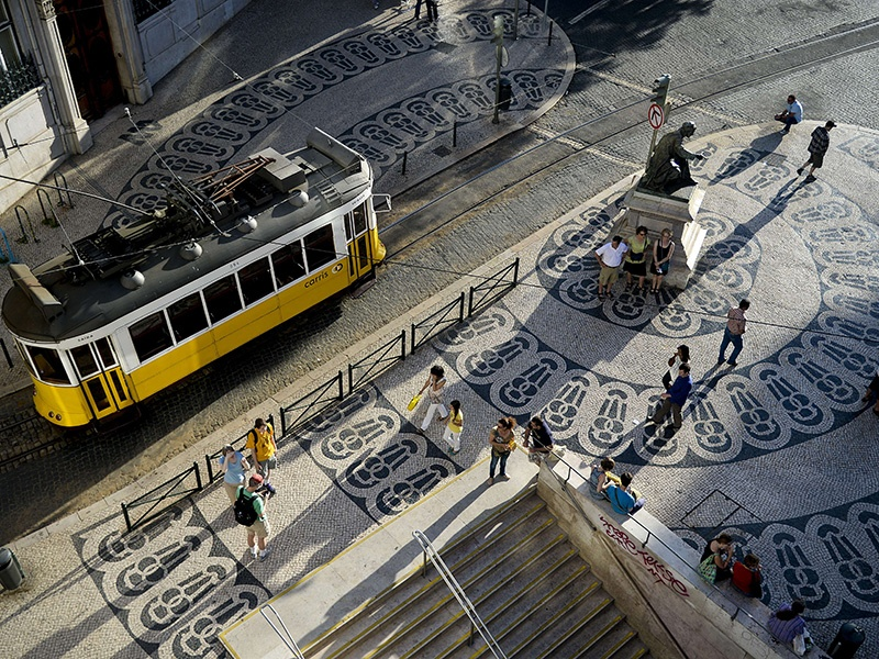Visitors to the upmarket Chiado will find luxury boutiques and azulejo-adorned buildings. Photograph: Getty Images