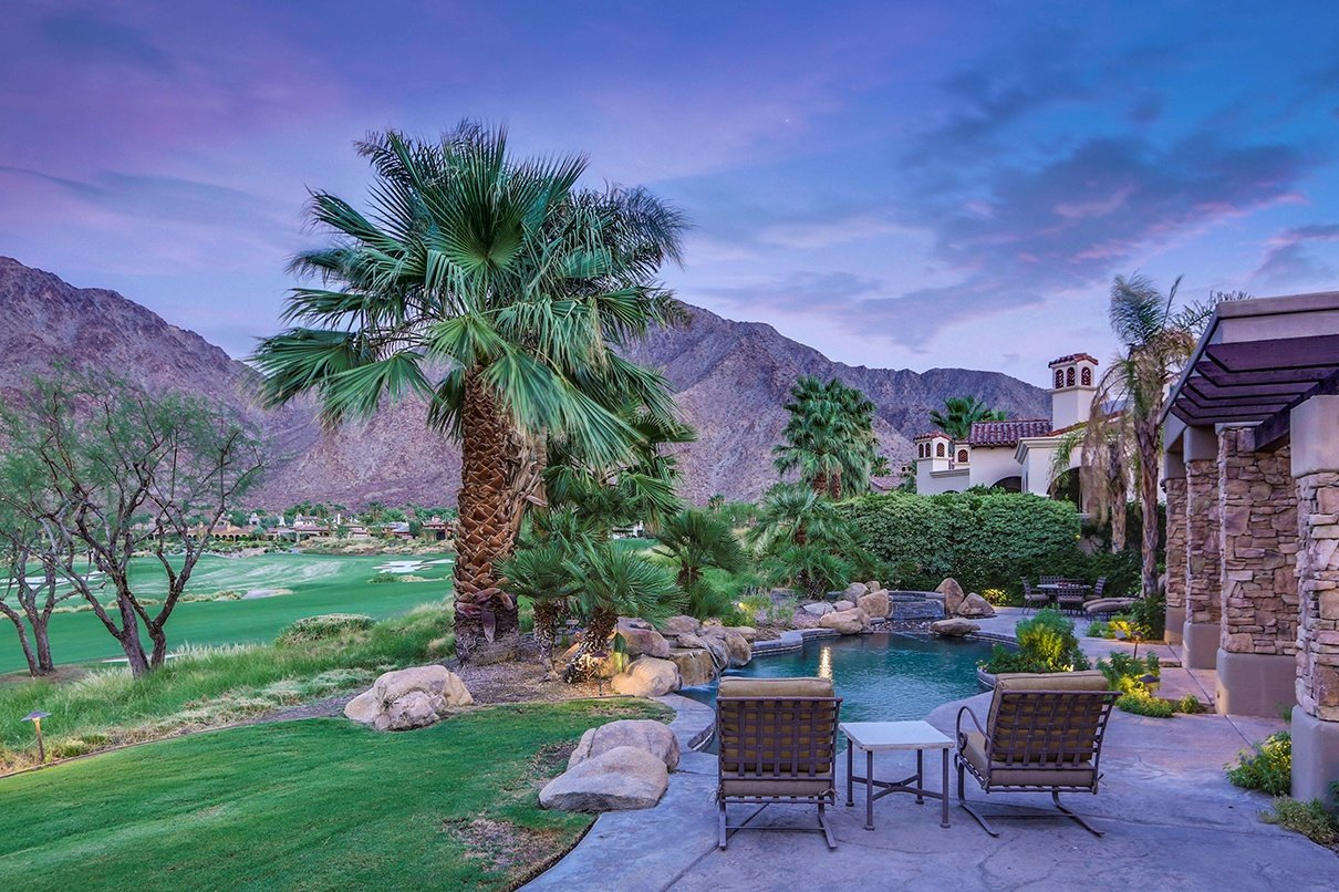 This hacienda-style home overlooks the 12th fairway of the Arnold Palmer signature golf course at Tradition Golf Club, in the foothills of California's Santa Rosa Mountains.