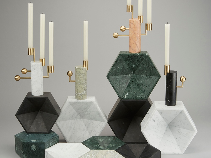 Matching Luncar Collection accessories by acclaimed jeweler Lara Bohinc: Star Gazer candle-holders, and geometric Constellation bowls. All designs are available in five different marbles.