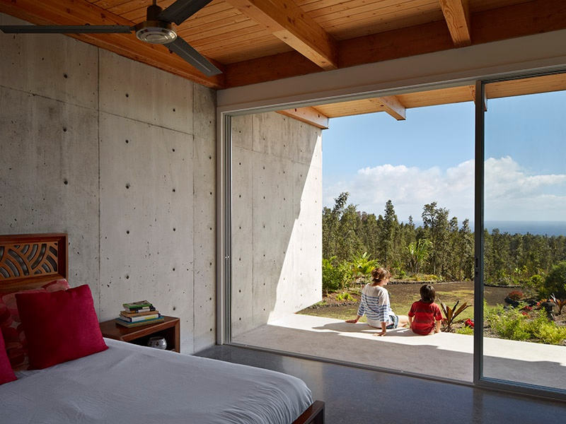 The Lavaflow 7 home in Hawaii, designed by Craig Steely, employs concrete to seamlessly blend indoor and outdoor spaces. Photograph: Bruce Damonte