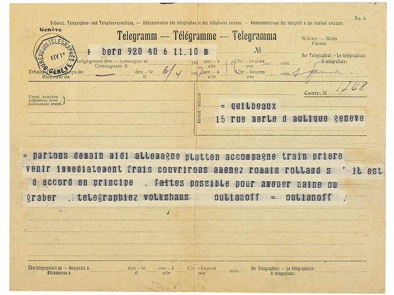 This 1917 telegram from Vladimir Ilyich Lenin was sent on the eve of his return to Russia.