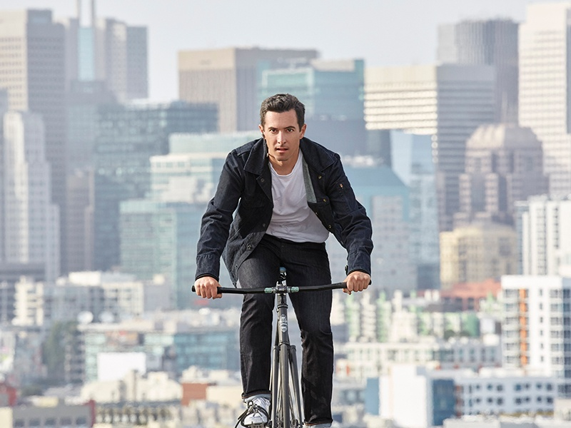 The Project Jacquard Commuter Trucker Jacket, designed by Levi's for urban cyclists, with prototype software from Google, allows wearers to connect to online services, including music and maps.