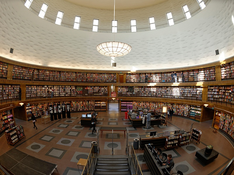 Stockholm Public Library, designed by Gunnar Asplund, has a majestic rotunda with a unique cylindrical hall. Photograph: Alamy