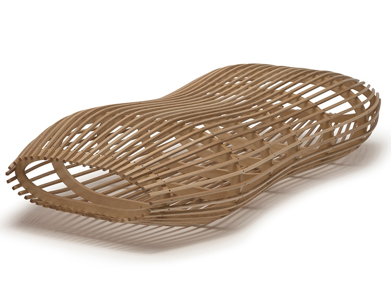 Constructed from American ash and hoop pine plywood, David Trubridge's Liferaft lounger is a striking conversation piece.