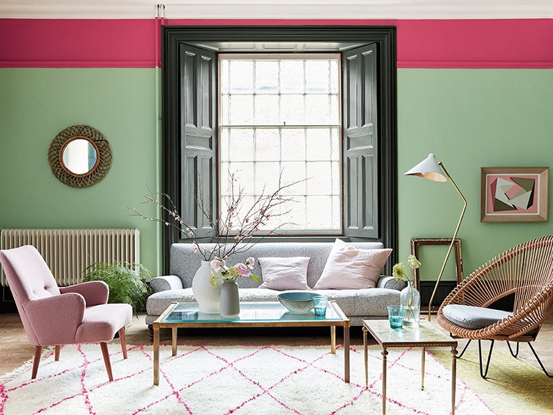 Pea Green walls are accented with bright pink Leather, a Little Greene signature shade from the 1970s.