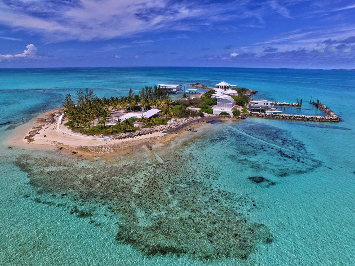 Located just off the coast of Eleuthera in the Bahamas, Lobster Island is a resort-style sanctuary accessible via boat, seaplane, or helicopter.