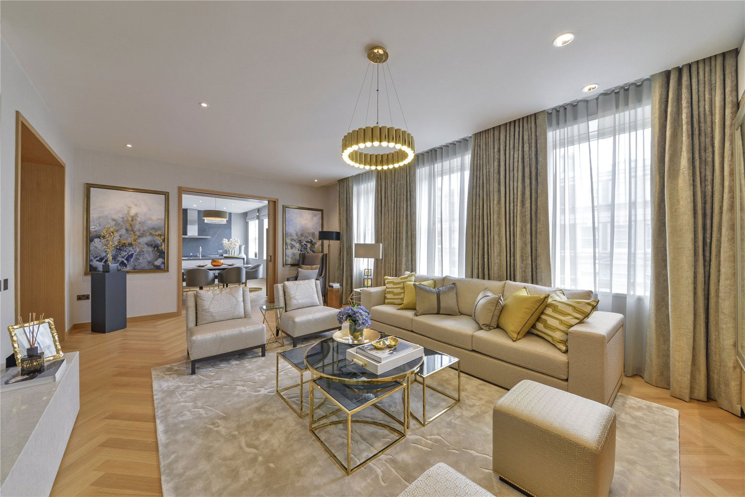 A few tube stops away is this luxurious four-bedroom duplex apartment, which enjoys a prime Central London address at One Kensington Gardens, a premier residential development designed by award-winning architect David Chipperfield.