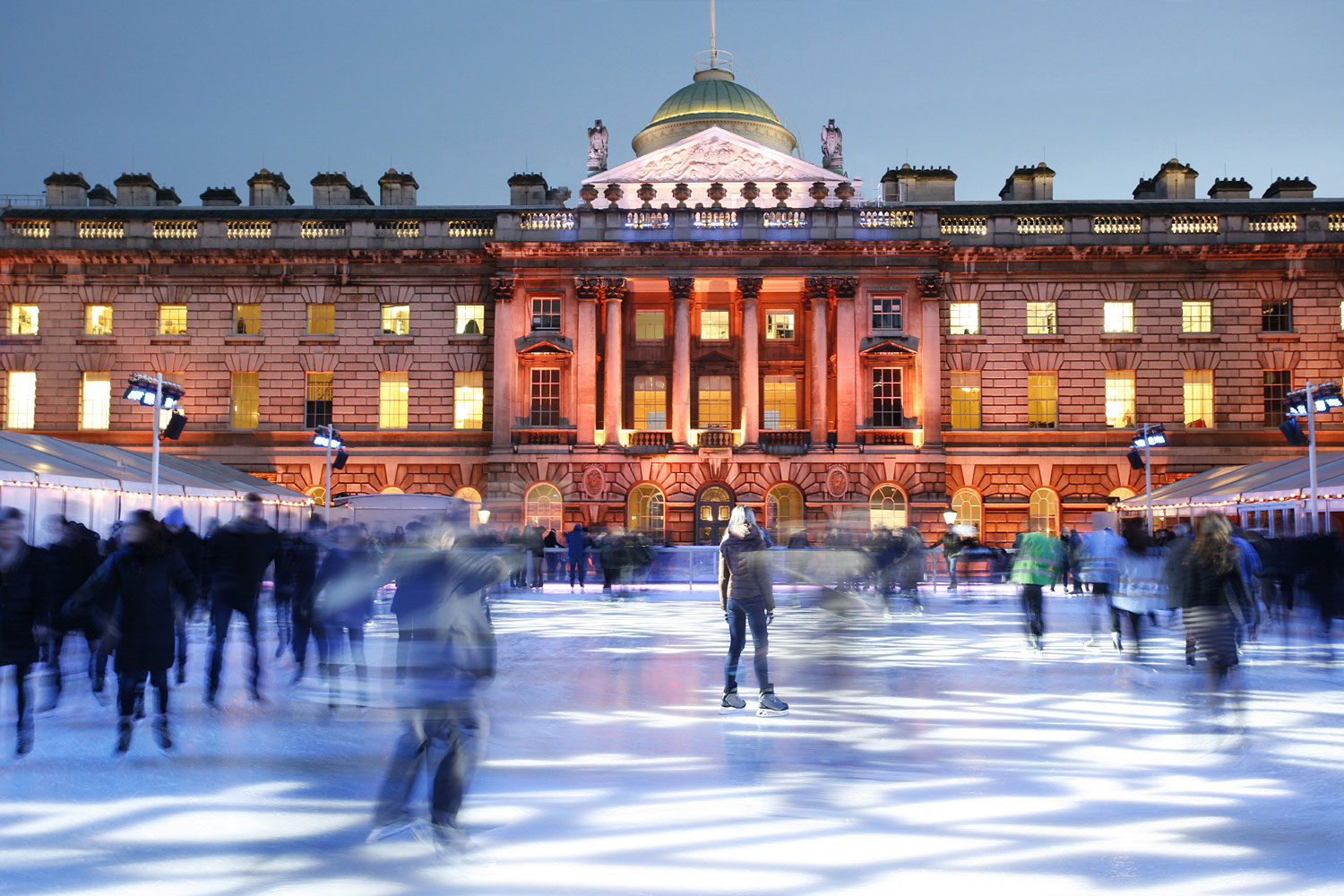 London's most beautiful ice skating venue is Skate at Somerset House. Each winter, the open-air ice rink is built into the grand Neoclassical courtyard of Somerset House in Central London. In the evening, the space becomes a glamorous open-air nightclub.