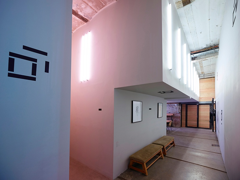 The work of Dan Flavin and Robert Irwin inspired the permanent light installation in BLOK's gallery space.