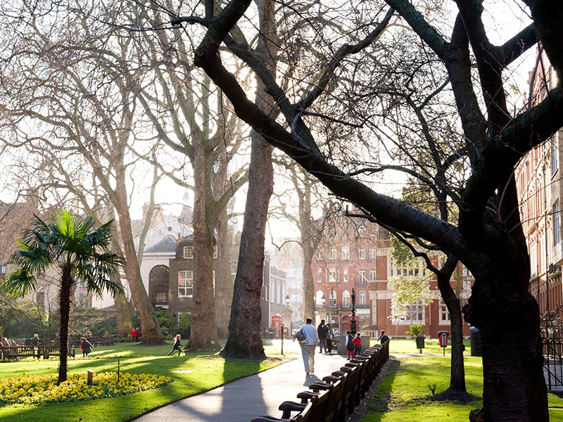 Mount Street Gardens offer an oasis in the heart of London's Mayfair and include a bronze drinking fountain designed by Sir Ernest George and Harold Peto. Photograph: Alamy
