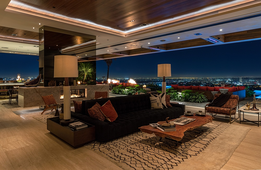 Several spectacular linear fireplaces add to the allure of this dream house in the Hollywood Hills.