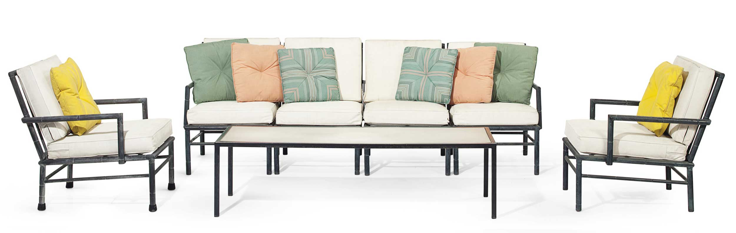 <b>A Suite of Bronze Patinated Metal Furniture</b><br/>by William Haines, Circa 1960<br/>Comprising a faux-bamboo sectional sofa, four armchairs and a coffee table