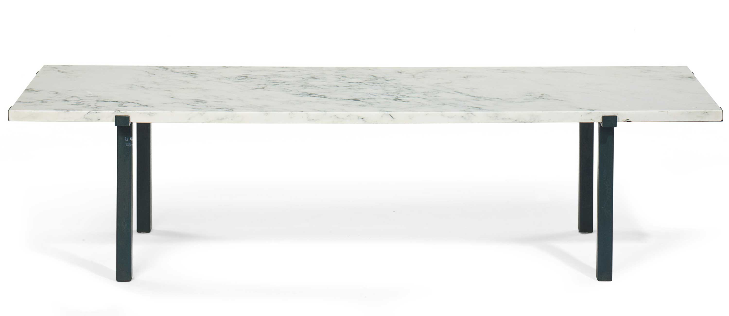 <b>A Green Patinated Bronze and White Marble Low Table</b><br/>by William Haines, Circa 1960
