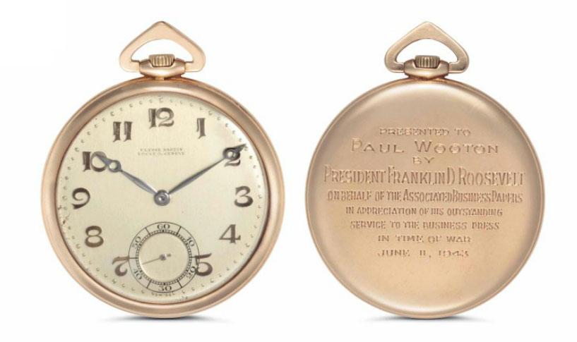 <b>Ulysse Nardin (1928)</b><br/>A fine and historically important 14k pink-gold open-face pocket watch, presented by President Franklin D. Roosevelt<br/>Lot 43: Rare Watches and Exceptional Complications sale<br/><i>Estimate: $10,000 – $15,000</i>
