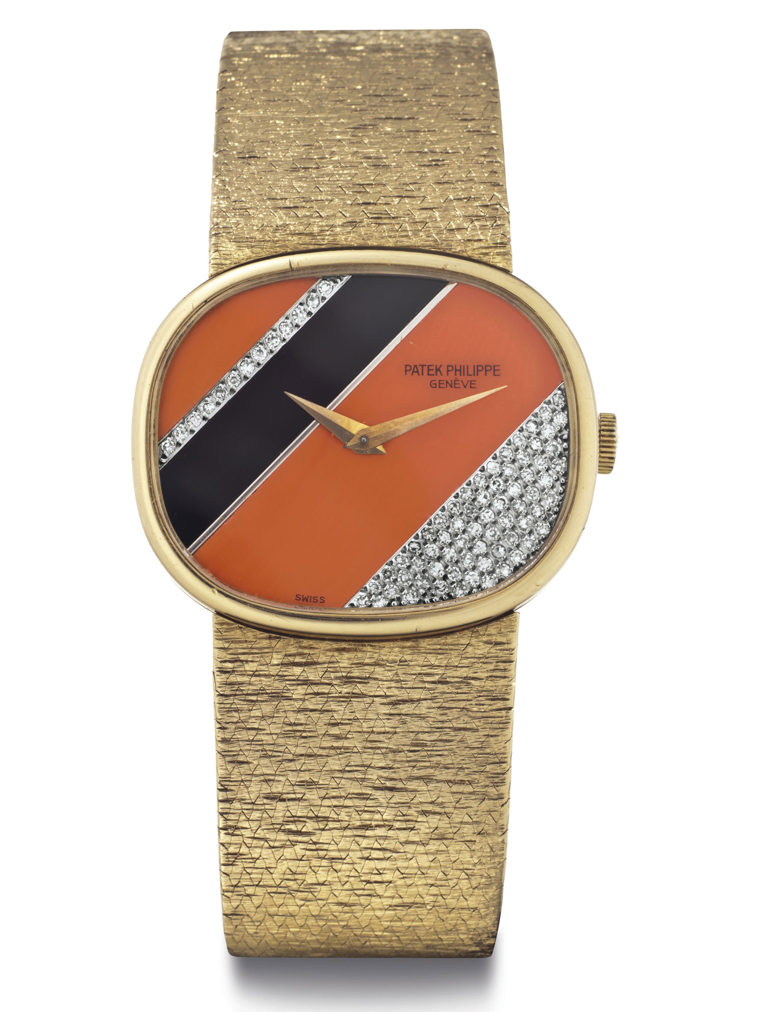 <b>Patek Philippe: Ref. 3845/909 (1977)</b><br/>A Fine 18k gold, coral, onyx, and diamond bracelet wristwatch<br/>Lot 50: Rare Watches and Exceptional Complications sale<br/><i>Estimate: $10,000 – $15,000</i>